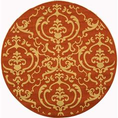 (1.5m Diameter, Terracotta/Natural) - Safavieh Courtyard Collection CY2663-3202 Terracotta and Natural Indoor/ Outdoor Round Area Rug (1.5m Diameter)