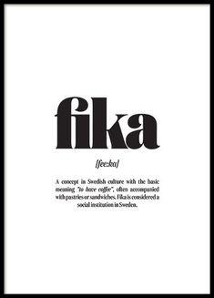 Poster med svartvit text Fika. Citattavlor och typografi prints till ditt hem | Archiveseven.com