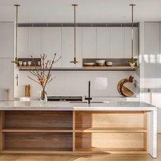 Home Interior, Kitchen Interior, Kitchen Decor, Kitchen Shelves, Open Shelves, Kitchen Ideas, Design Kitchen, Interior Design, Kitchen Trends