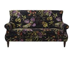 Black and Floral Settee Loveseat