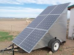 Solar panels on the mobile off-grid solar power system mounted       on a trailer.