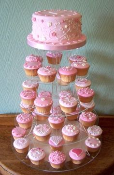 Baby Shower Ides For Girls Cupcakes Cake Stands Trendy Ideas - Girl shower cupcakes - Kuchen Baby Shower Cupcakes For Girls, Baby Shower Food For Girl, Girl Shower, Baby Shower Cakes, Cake And Cupcake Stand, Cupcake Cakes, Cake Stands, Sweet 16 Cakes, Sweet Sixteen Cakes