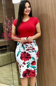 Floratta Modas - Moda Evangélica - A Loja da Mulher Virtuosa Pencil Skirt Dress, Pencil Skirt Outfits, Red Bodycon Dress, Dress Skirt, Dress Outfits, Casual Dresses, Fashion Outfits, Short Dresses, Sheath Dress