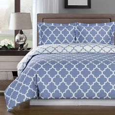 Modern Moroccan Lavender Cotton Duvet Comforter Cover and Shams Set - Geometric Trellis Lattice Pattern Reversible 3 piece Bedding Set - Matching Window panels curtains available.  Great look for a trendy bedroom decor!