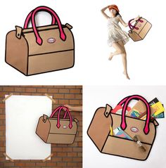 Optical illusion bag from Jump From Paper. What appears to be a cute cartoon bag, is really a usable canvas bag. Cartoon Bag, Cute Cartoon, Jump From Paper, Optical Illusions, Things To Buy, Awesome Things, My Style, Bags, Travel