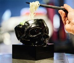 "mastermind JAPAN x HIDE-CHAN MASTERMIND RAMEN Hong Kong! ""Only the first 100 patrons each day will receive their very own skull bowl, so make sure you arrive well before the 6 p. Skull Decor, Skull Art, Skull Head, Memento Mori, Lolita Gothic, Crane, Mastermind Japan, Goth Home, Gothic House"