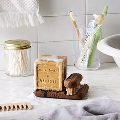 Andrée Jardin x Fer à Cheval Marseille Soap With Wood Stand & Brush on Dishwasher Smell, Marseille Soap, French Soap, Olive Oil Soap, Soap Holder, Heat Treating, Pet Bowls, Food 52, Sustainable Living