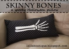 Skinny Bones Halloween Pillow - HoneyBear Lane