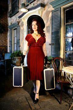 Trashy Diva 1940's red velvet dress