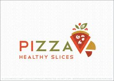 Logo for sale: Modern and fun pizza slice logo featuring simple pie slice shapes, representing a slice of pizza. Fun and whimsical pizza toppings are added to the design with a natural leaf element placed above the pizza slice to emphasize the healthy concept.