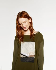 Image 2 of LONG SLEEVE FOIL TOP from Zara