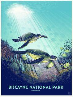 Justin Santora - Biscayne National Park Biscayne National Park, Grand Canyon National Park, National Park Posters, Us National Parks, Wpa Posters, Mangrove Forest, Screen Print Poster, Poster Series, Illustrations