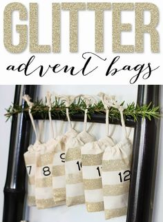 Use Rust-Oleum Glitter Spray Paint to create beautiful DIY Glitter Advent Bags to celebrate the holiday season.