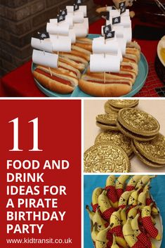 11 party food and drink ideas for a pirate theme first birthday party - Pirate Party - Birthday Pirate Themed Food, Pirate Snacks, Pirate Food, Pirate Drinks, Party Food Themes, Party Food And Drinks, Ideas Party, Pirate Birthday Cake, Halloween Birthday