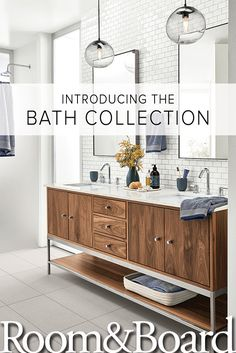 Our new bath collection showcases the signature modern look and outstanding quality you expect from Room & Board. Click to explore our new vanities and bath decor to create a beautiful, modern bathroom.