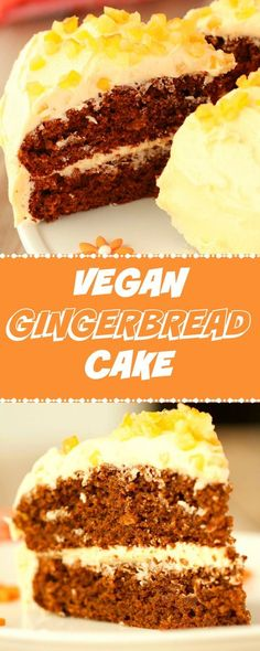 Perfectly flavored gingerbread cake with orange frosting. This gorgeous vegan cake is rich, moist and packed with gingerbread flavor! Vegan | Vegan Cakes | Vegan Dessert | Dairy Free | #vegan #vegancakes #vegandessert #gingerbread | lovingitvegan.com