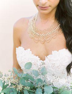 bridal jewelry - photo by Ben Q Photography http://ruffledblog.com/easy-romantic-wedding-inspiration