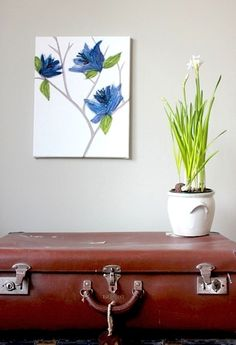 vintage suitcase, spring bulbs, wall art
