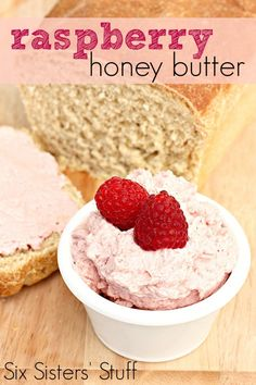 This Raspberry Honey Butter from SixSistersStuff.com is so delicious on fresh baked bread! #sixsistersstuff
