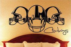 3 Helmet Football Vinyl Wall Decal by VinylOnTheGo on Etsy