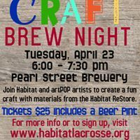 Art event by Habitat for Humanity-La Crosse Area on Tuesday, April 23 2019 Habitat Restore, Pint Of Beer, Habitat For Humanity, Facebook Sign Up, Brewery, Habitats, Fun Crafts, Tuesday, Join