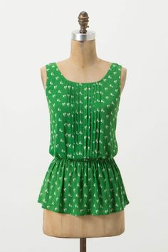 Green and white bird print Pintuck Peplum Blouse, love this, too bad it sold out, but found it on ebay!