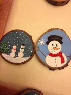 Snowman wood slice