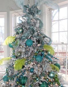 Christmas Tree Decorating Ideas - Mix of Sea Greens - Click Pic for 30 DIY Christmas Decorations