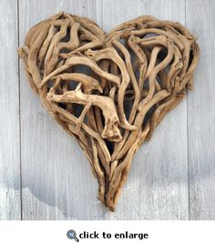 Small Driftwood Heart    Painting With Flowers Store - saw this store on the Long Island Medium show on TLC