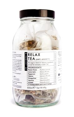(bagged) Developed using natural ingredients with calming and relaxing properties, Dr Jackson's Relax Tea was specially formulated to relieve feelings Relax, Herbs For Depression, Herbs For Anxiety, Herbal Store, Snacks Saludables, Alcohol Detox, Peppermint Tea, Tea Packaging, Lemon Balm