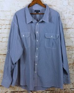Mens Lands End Blue White Gingham Shirt 5XL Roll Tab Sleeves Cotton Blend #LandsEnd #ButtonFront