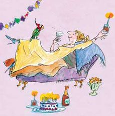 Click to view the Quentin Blake Woman & Parrot, Birthday Card