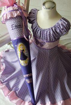 Mädchenkleid & Einschulungskleid ELODIE Grösse 122/128 und Schultüte Rapunzel