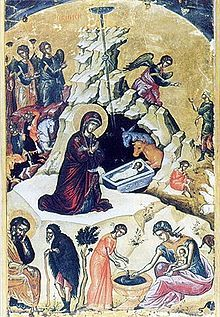 Russian icon of the Nativity.