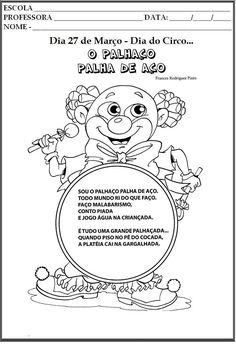 Resultado de imagem para dia do circo para educaçaõ infantil primeiro periodo Early Childhood Education Online, Free Courses, More Fun, Wal, Seed Beads, Most Beautiful Pictures, Snoopy, Teddy Bear, Activities
