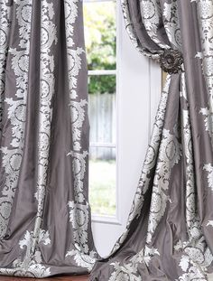 Shop for Exclusive Fabrics Charcoal Grey With Silver Metallic Print Faux Silk Curtain Panel. Get free delivery On EVERYTHING* Overstock - Your Online Home Decor Outlet Store! Silver Curtains, Faux Silk Curtains, Drapes Curtains, Patterned Curtains, Drapery Panels, Window Panels, Window Coverings, Shades Window, 108 Inch Curtains