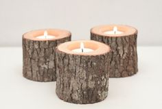 Tree Branch Candle Holders Set of 3 Short- Rustic Wood Candle Holders, Wooden Candle Holders, Woodland Wedding from WorleysLighting on Etsy. Wooden Candle Holders, Candle Holder Set, Tea Light Holder, Rama Seca, Kitchen Candles, Candle Lamp, Wood Lamps, Woodland Wedding, Handmade Home