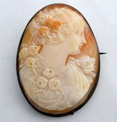 Victorian Carved Cameo Brooch Sterling Silver