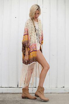 Desert Wanderer Tassel Kimono - High Noon
