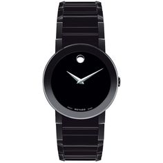 Movado PVD-Finished Stainless Steel Bracelet Watch ($1,995) ❤ liked on Polyvore featuring jewelry, watches, accessories, bracelets, black, black watches, stainless steel wrist watch, movado wrist watch, black bracelet watch and black stainless steel jewelry