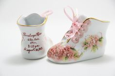 Personalized Baby Girl Shoe - Hand Painted Porcelain China Baby Bootie - Personalized newborn gift keepsake