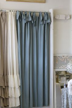 74x90 ASW Shower Curtain with Ties. Blue Linen. easy ldlinens $275. raise the shower pole to ceiling, ties at top.
