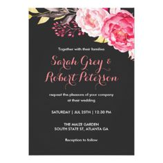 Pink Watercolor Roses Stripes Wedding Invitation