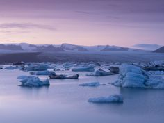 size: Photographic Print: Icebergs in Jokulsarlon Glacial Lagoon, at Dusk by Patrick Dieudonne : Artists Indie Music, Digital Technology, Photographic Prints, Professional Photographer, Dusk, Find Art, Framed Artwork, Water, Photography
