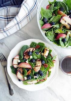 Grilled Peach Blueberry Spinach Salad with Honey Balsamic Vinaigrette