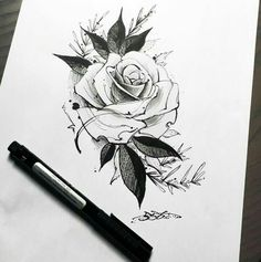 ideas for drawing tattoo rose sketch Rose Drawing Tattoo, Tattoo Sketches, Tattoo Drawings, Body Art Tattoos, Art Sketches, Sleeve Tattoos, Tatoos, Rose Drawings, Sketch Drawing