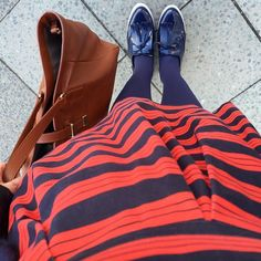 Stripes and a matching tights/shoe combo #oneoutfitaday