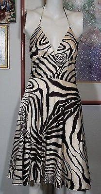 ALYN PAIGE New York Summer Casual Halter Dress Brown Zebra Pattern Siz – La Guanaquita's Closet
