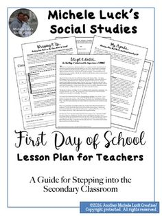 First Day of School Lesson Plan for Teachers -... by Michele Luck's Social Studies | Teachers Pay Teachers