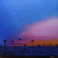 Original oil painting landscape palms sea art